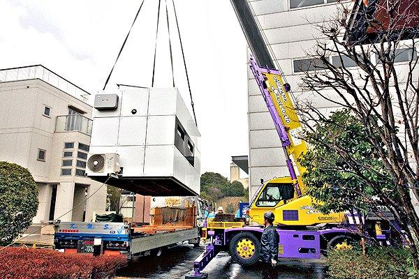 Prefab Agri-Cube being placed on a prepared site