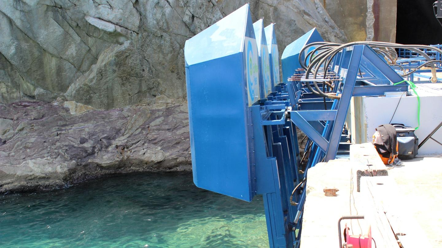 The hardware installed on the jetty in Gibraltar is well suited to its environment, with a pointed design to split through waves, and the ability to gather power even in good weather