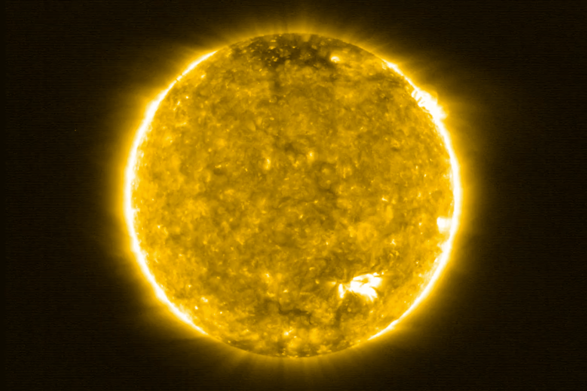 An image of the Sun captured by the Solar Orbiter – the image is artificially colored, as the ultraviolet wavelength of light in which it was captured is invisible to the human eye