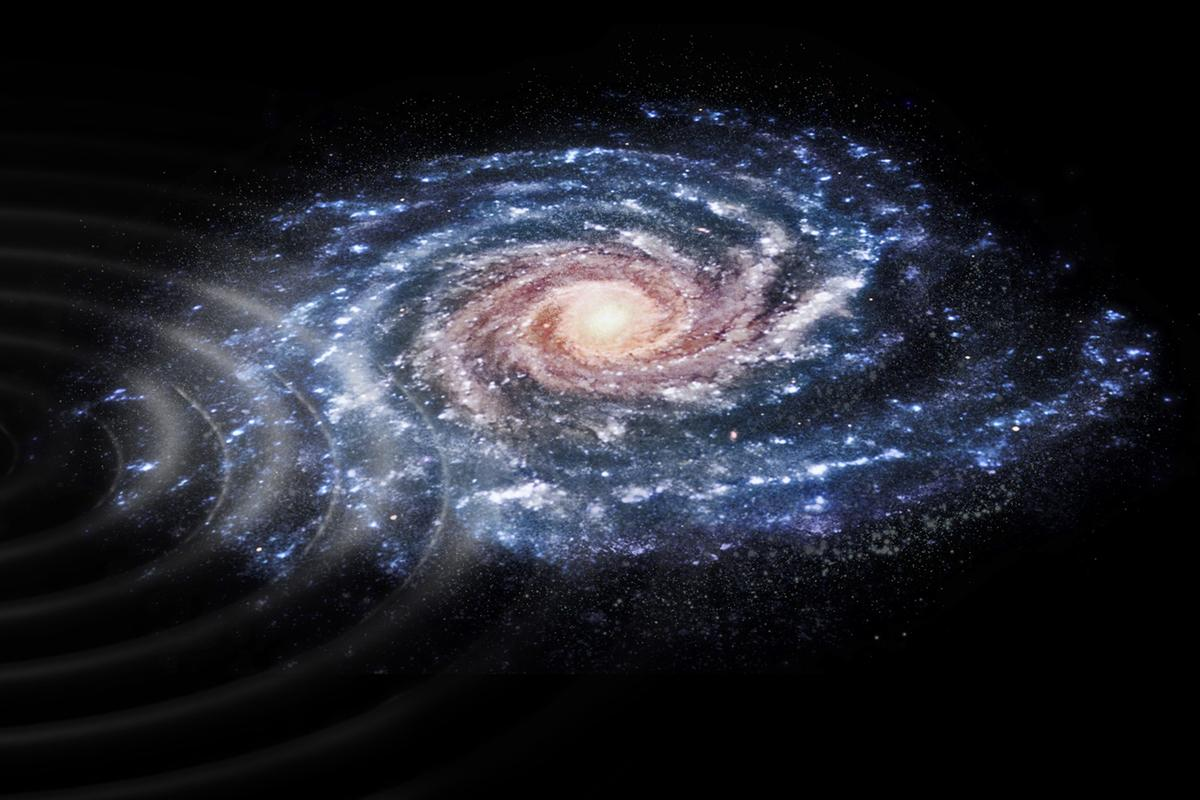 "An artist's rendition of ripples in the outer disc of the Milky Way, which are believed to have been caused by a collision with the ""ghost"" galaxy Antlia 2"