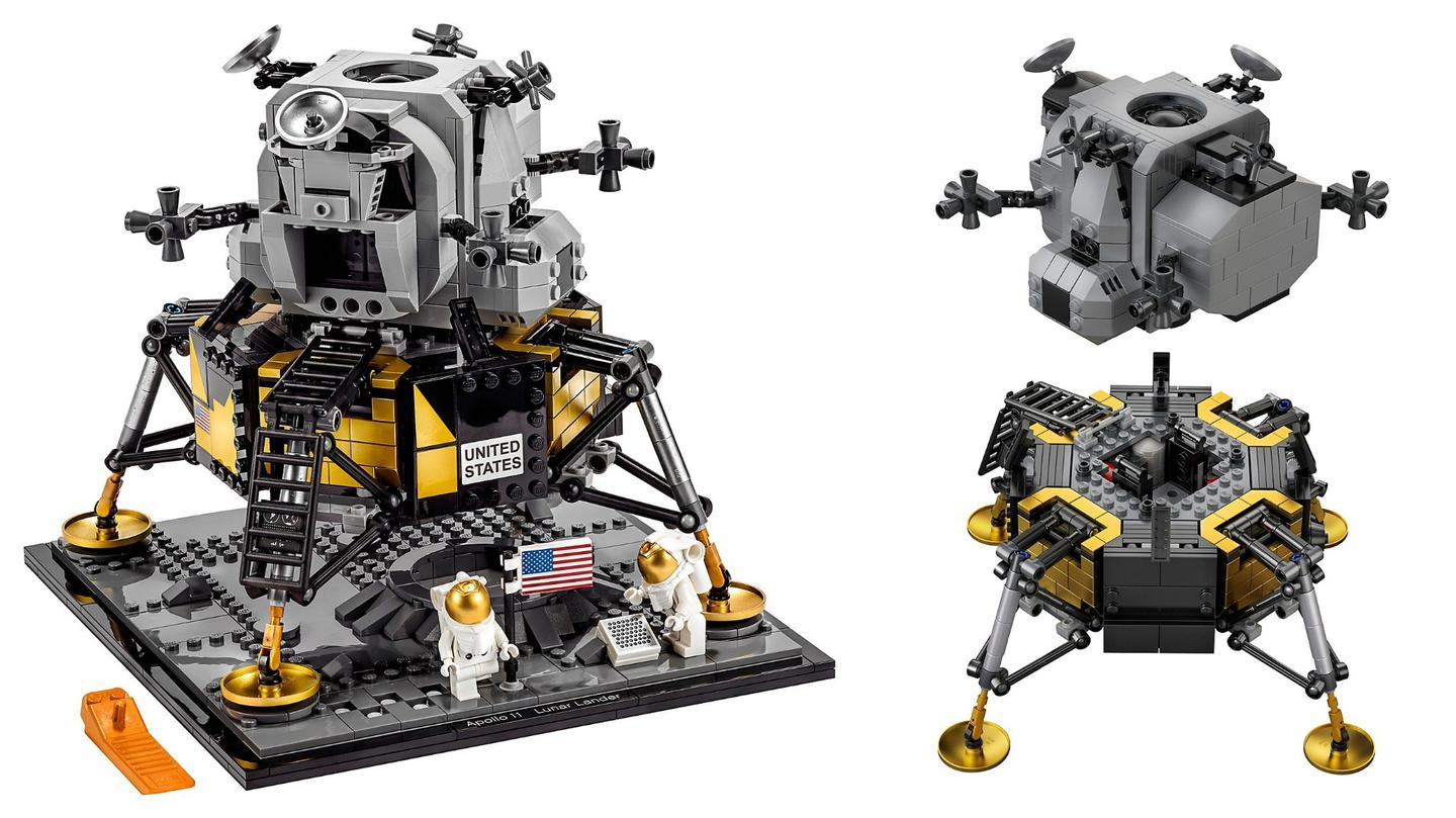 Lego's NASA Apollo 11 Lunar Lander set (#10266) and the separate ascent and descent stages