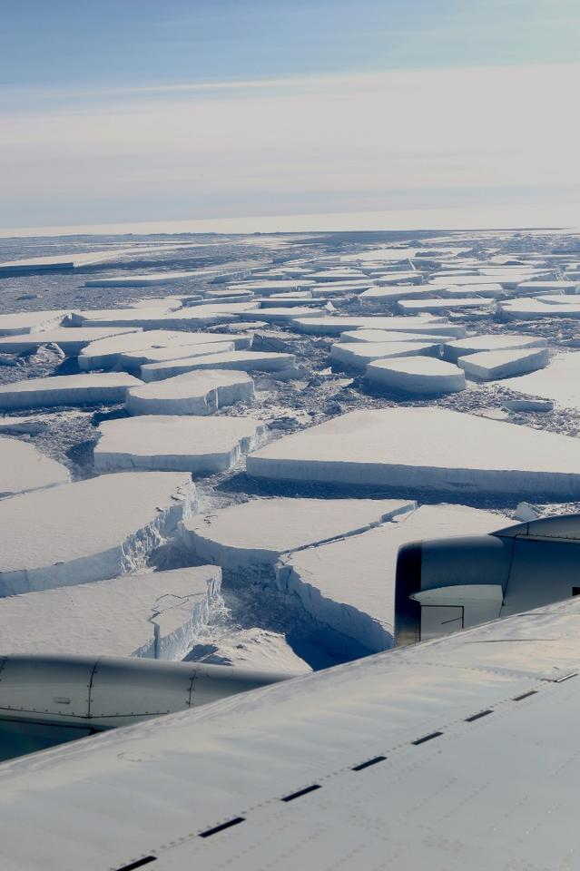 Large tabular icebergs located between Antarctica's Larsen C ice shelf and the A-68 ice island. Photo taken on October 16, 2018
