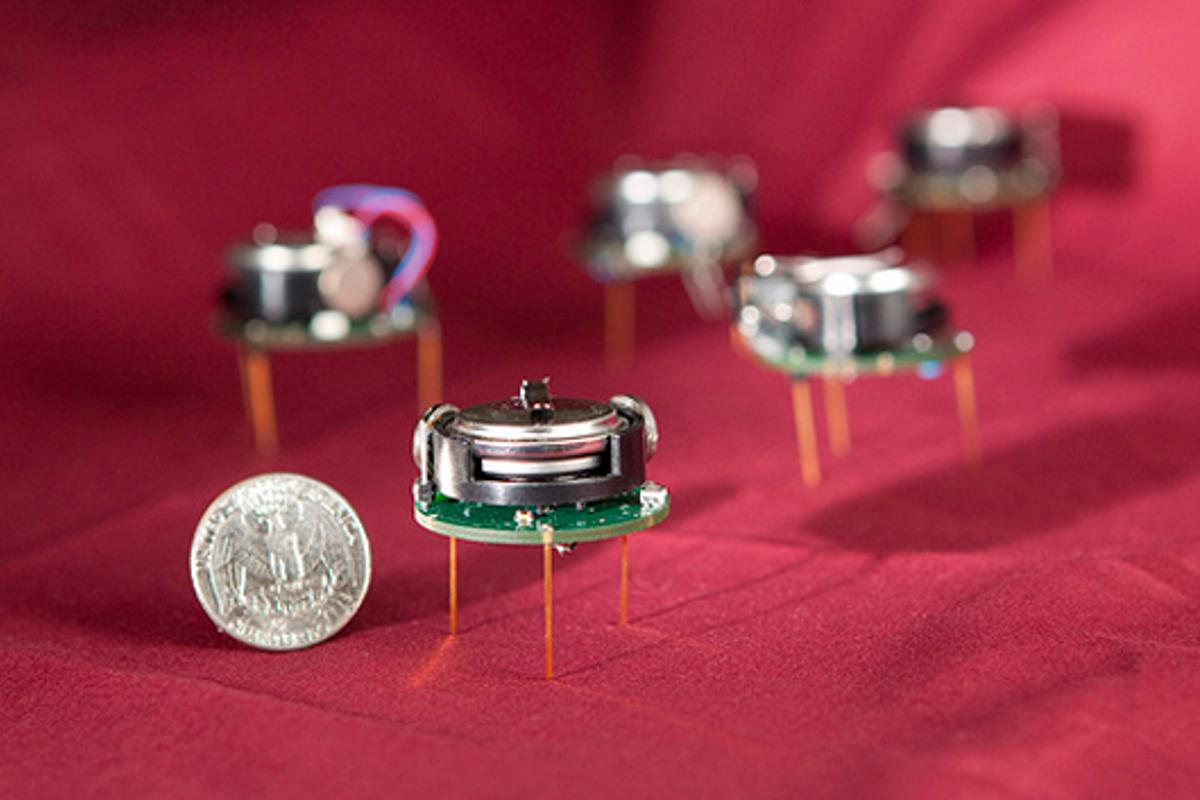 Kilobots are tiny autonomous swarming robots, that cost about $14 a piece to build (Photo: Harvard University)