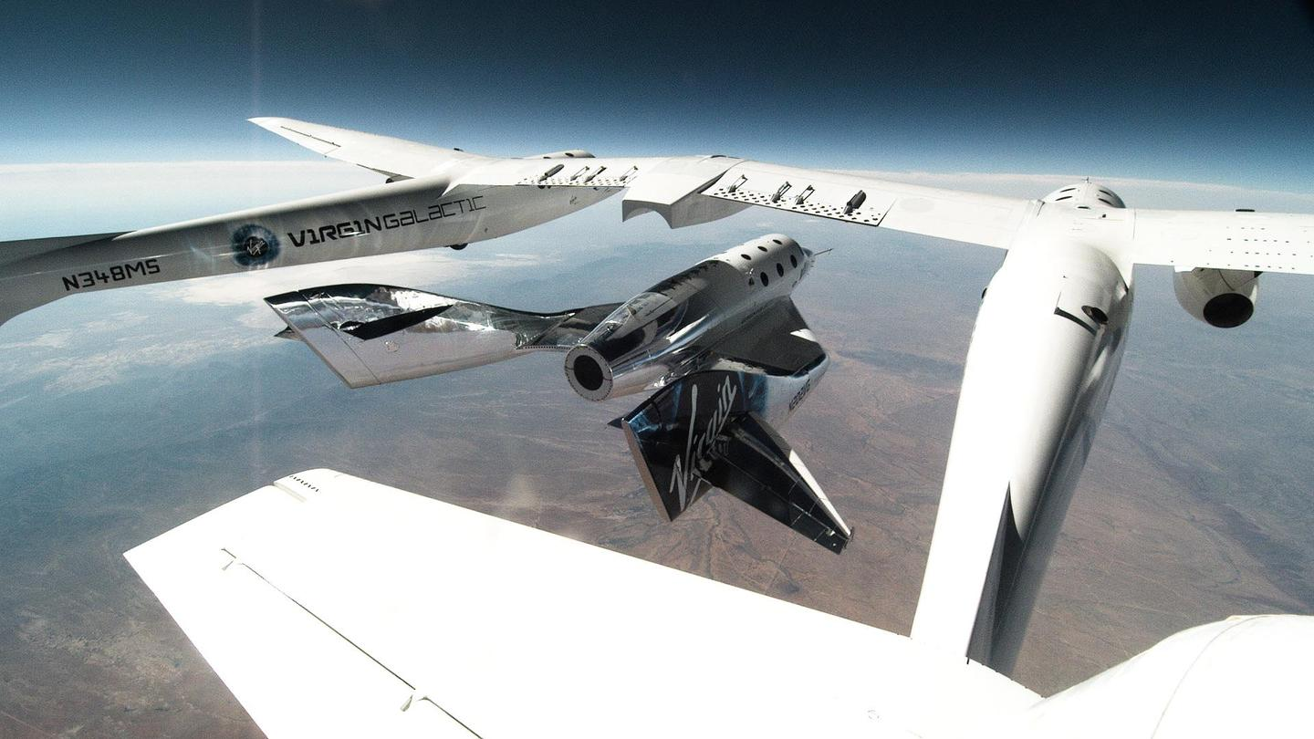 Virgin Galactic's VSS Unity is released from its mothership over New Mexico
