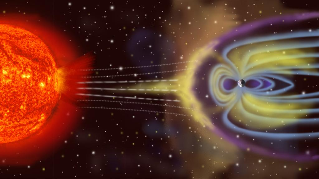 Solar particles interact with Earth's magnetosphere