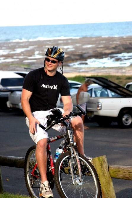 Inventor Nicholas Kidd recharges his electronic accessories while out cycling