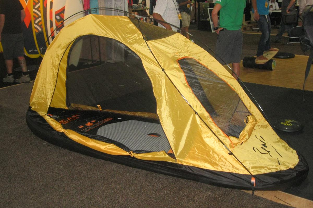 The Coreban BG Ultimate Adventure Tent turns the paddleboard into a shelter