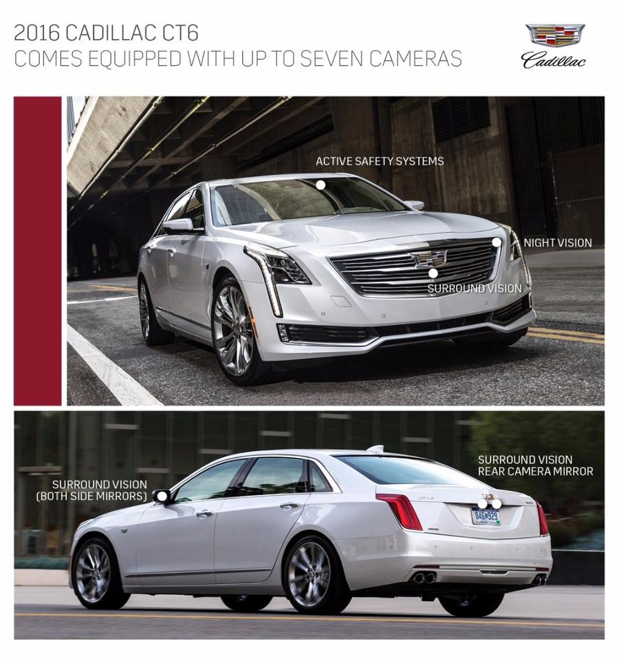 There are seven cameras scattered around the Cadillac's exterior
