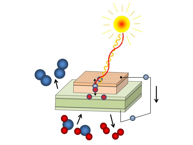 Photochemical cell: Light creates free charge carriers, oxygen (blue) is pumped through a membrane