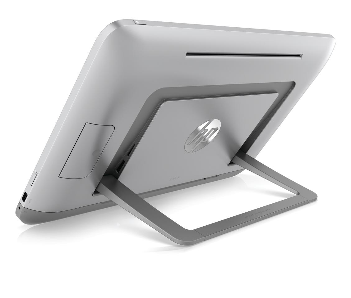 The kickstand flips out at the press of the large hinge lock for desktop use, or can lie flush within the body and placed on the tabletop
