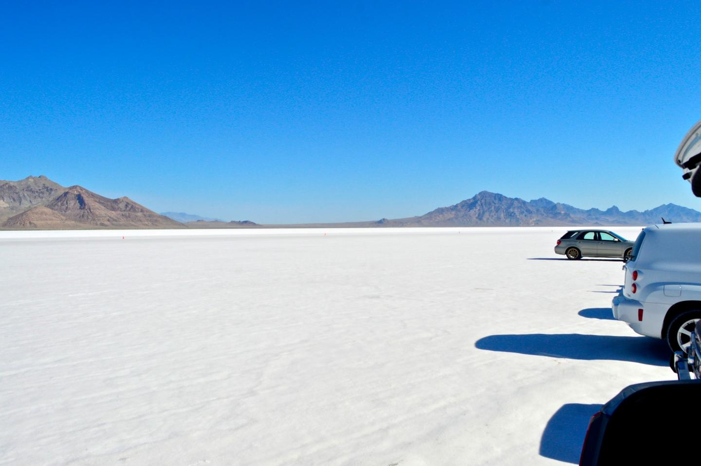 Our first look at the wide expanse of mountain-rimmed salt known as the Bonneville Salt Flats