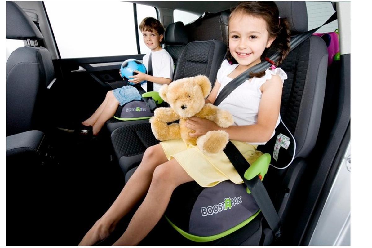 Safety first - the BoostApak quickly changes from a child's backpack with a storage compartment into a booster seat