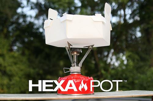 The Hexa Pot is a lightweight cooking pot that folds flat
