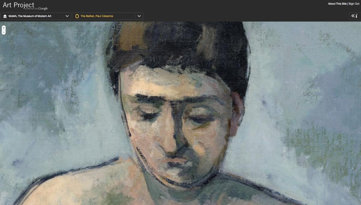 Cezanne's The Bather is one of the artworks viewable with Google Art Project