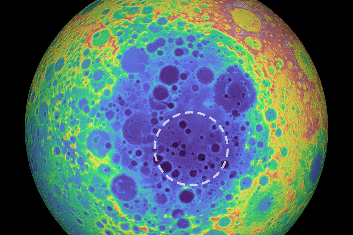 The huge South Pole-Aitken basin on the Moon can be seen in this topographical map, as blue areas representlower regions. The white dotted outline shows the location of the mass anomaly