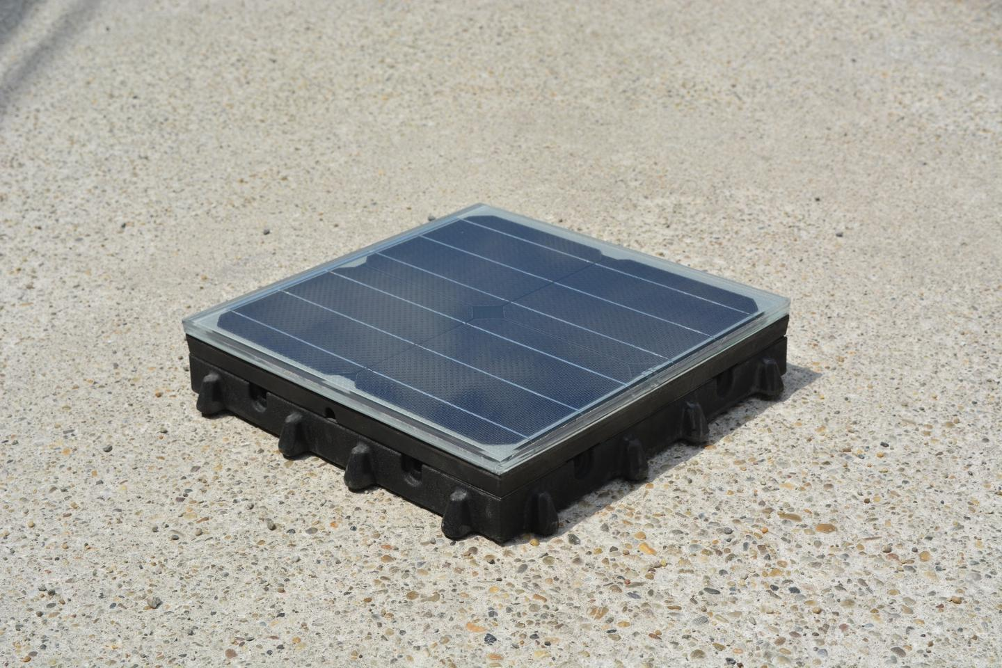 Platio's PV-packed paving tile houses all the necessary wiring and cabling for a quick install