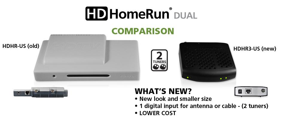 The orginal HDHomeRun (left) compared to the new model