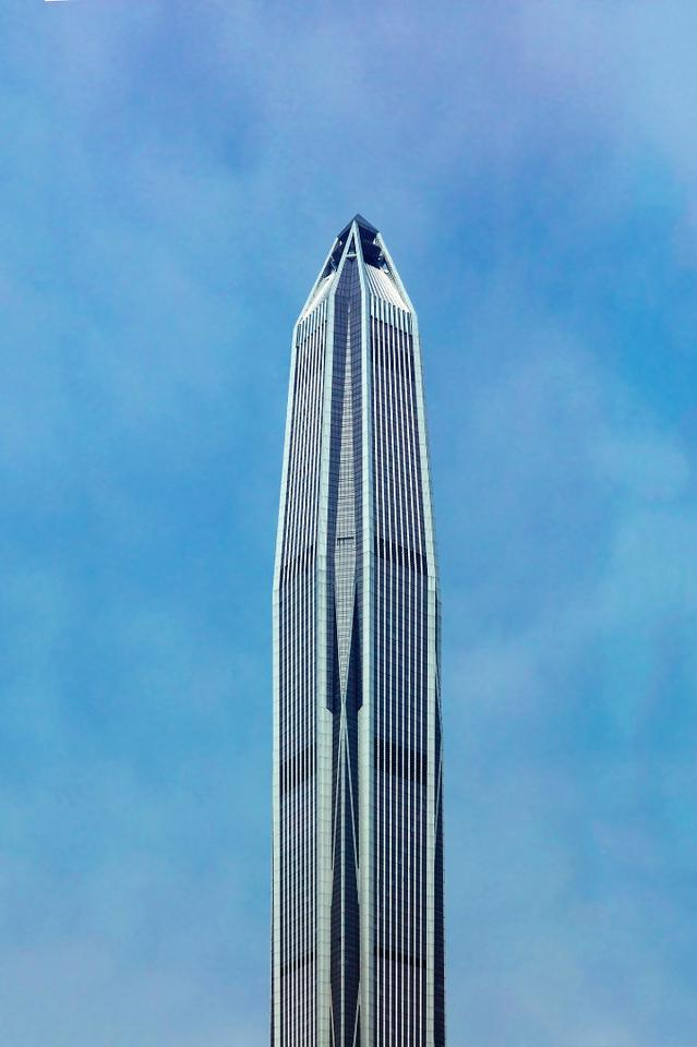 The mixed-use Ping An FinanceCentrerises to a total height of 599 m (1,965 ft)