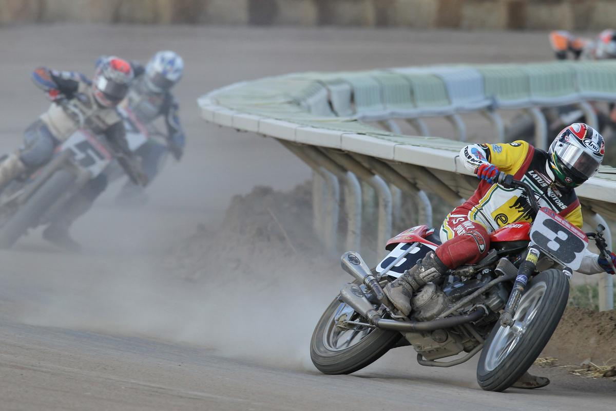 Former Grand National Champion Joe Kopp leads the field on his Ducati