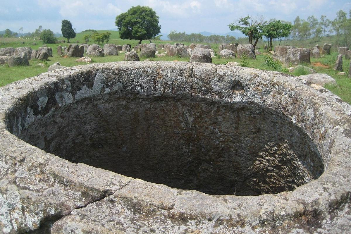 The Plain of jars is an archeological site in Laos comprising thousands of huge stone jars