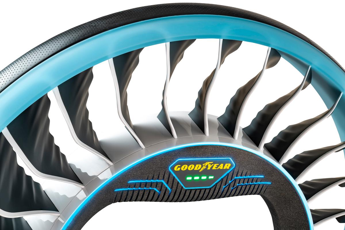 The non-pneumatic Aero tire features shock-absorbing spokes that double as rotor blades