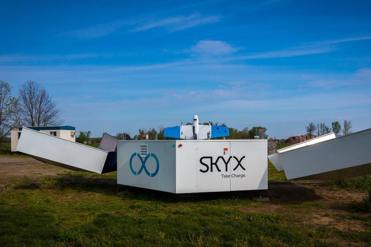 SkyX's xStation is a recharging platform for the long-range SkyOne UAV