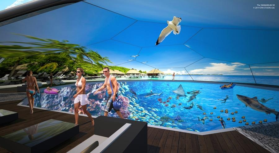 OVA Studio's Swimarium is a swimming pool surround by LED screen on which footage from dive sites around the world can be shown