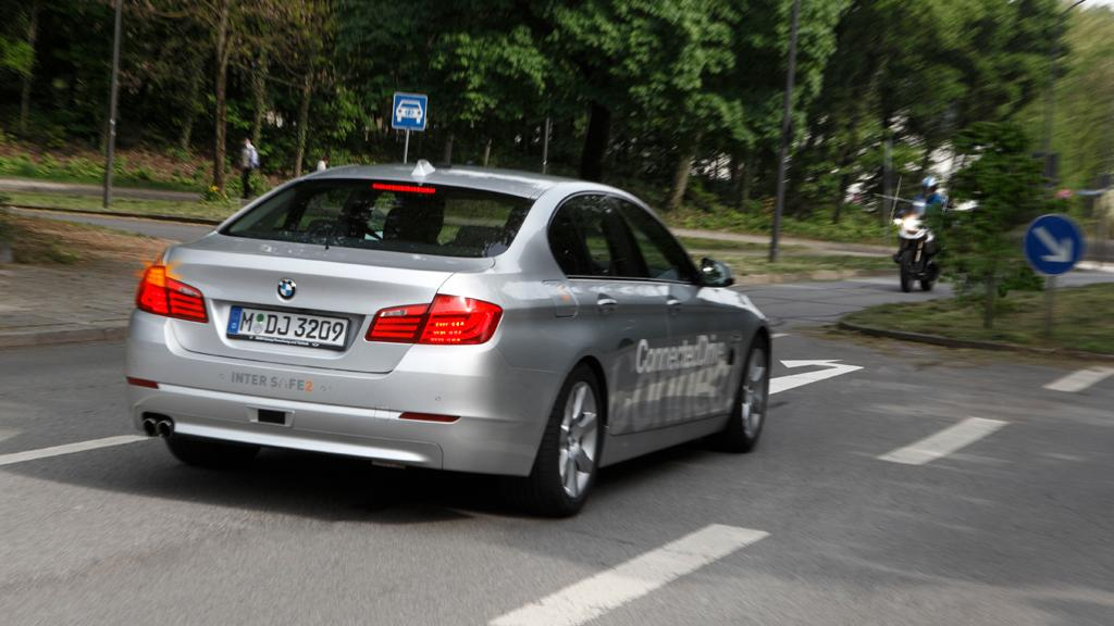 The left turn assistant is being tested on the BMW 5 Series test vehicle