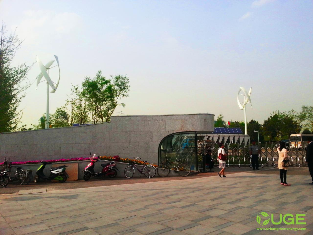 VisionAIR made its first public appearance on May 18th at the Beijing International Garden Expo for an installation that combined two turbines with 40kW of solar panels to power the event's ticket center