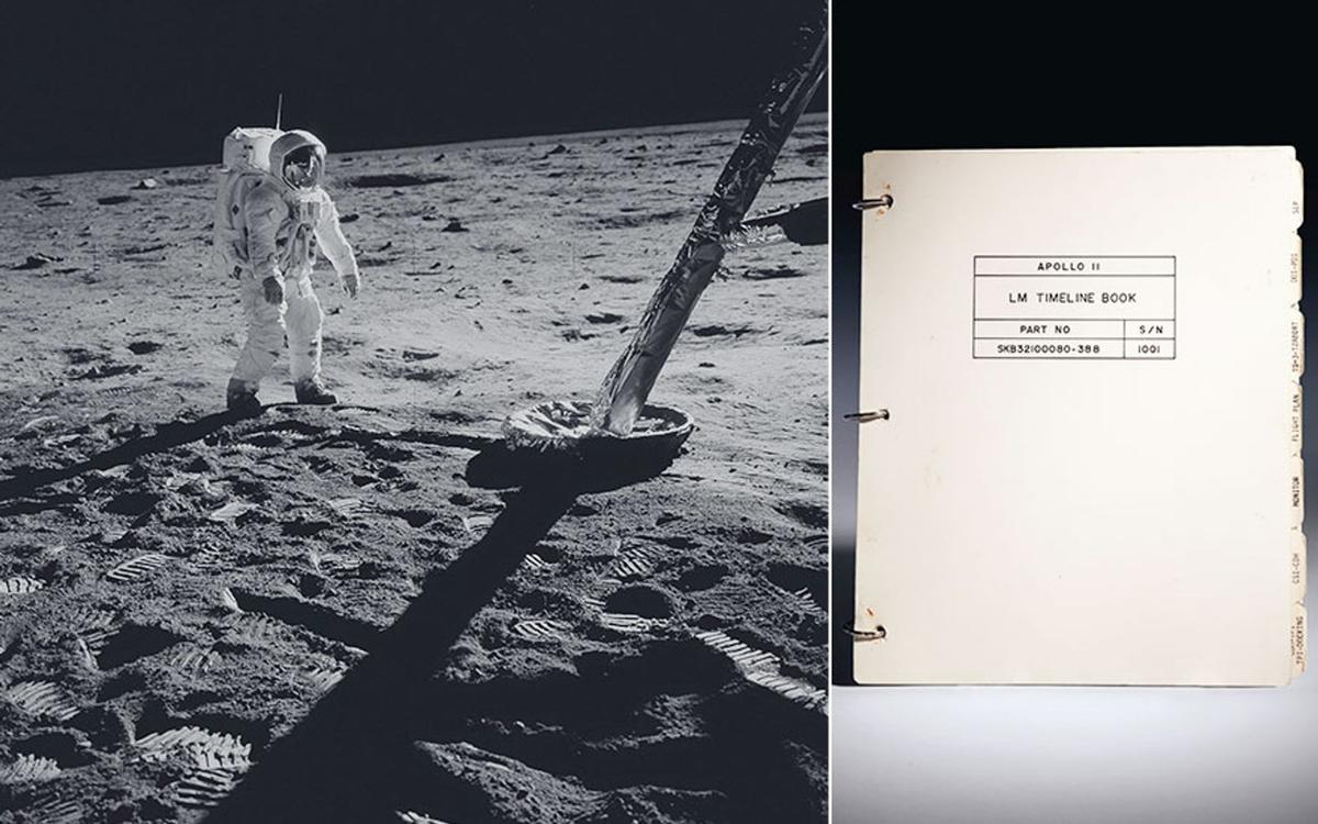 The cover of theApollo 11 Lunar Module Timeline Book –to be auctioned almost 50 years to the day after the historic landing on the Moon