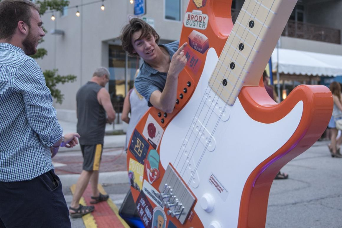 The huge playable guitar installed certainly seemed to strike the right chord with festival-goers