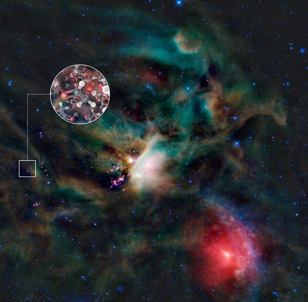 Sugar molecules in the gas surrounding a young Sun-like star (Image: ALMA/L. Calçada & NASA/JPL-Caltech/WISE Team)