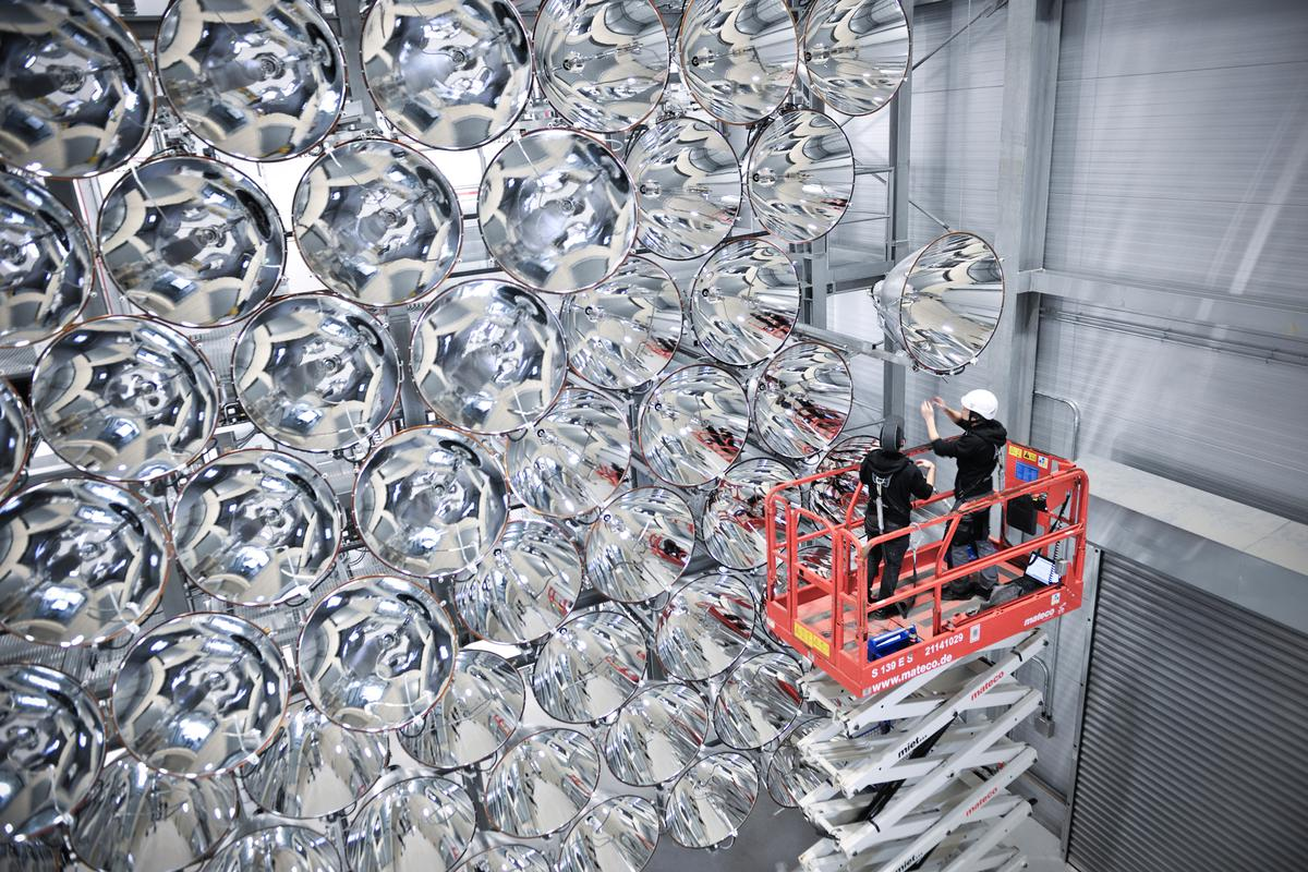 The Synlight artificial Sun is made of 149 7-kW arc lights