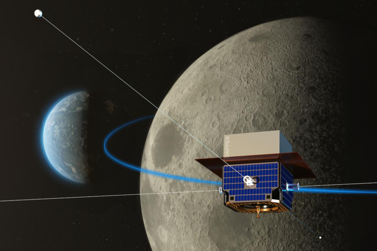An artist's impression of the DAPPER spacecraft, orbiting on the far side of the Moon