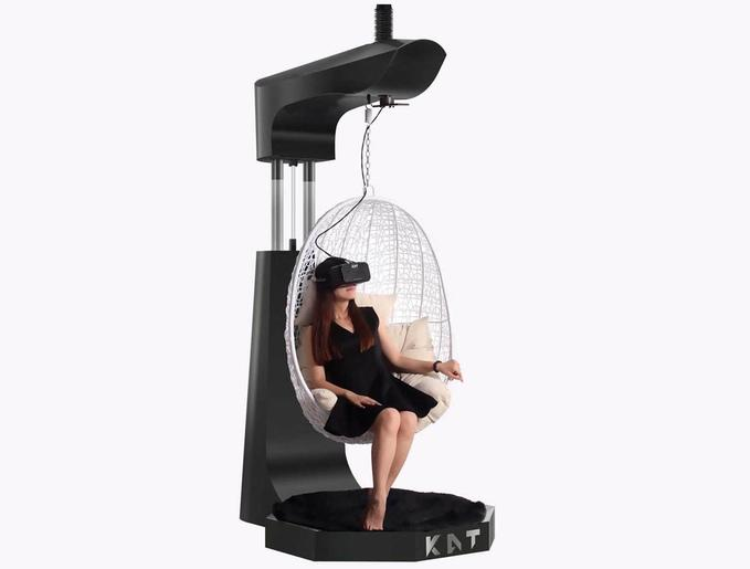 The Kat Walk VR treadmill has an optional hanging chair for relaxing in or out of virtual reality