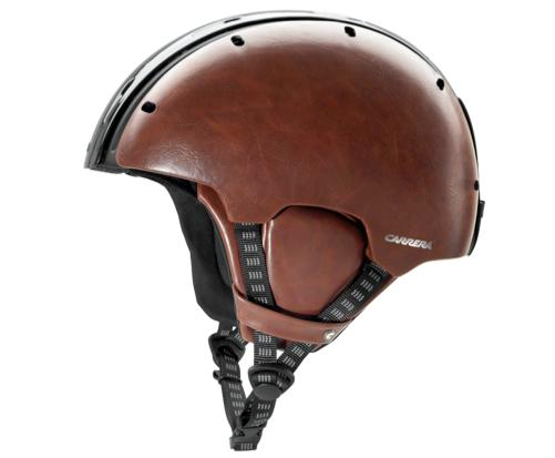 The helmet comes in five color choices, including the fancy-shmancy leather/carbon version shown here
