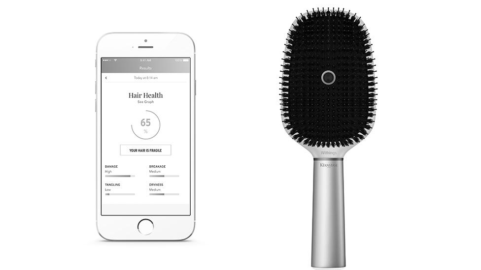 The battery-powered brush is splash-proof and is said to work with a variety of hair types