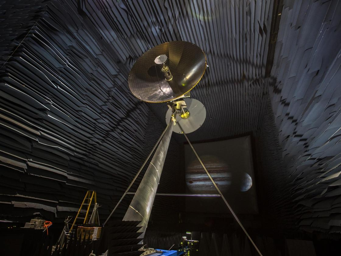 A full-scale prototype of the high-gain antenna on NASA's Europa Clipper spacecraft is undergoing testing in the Experimental Test Range at NASA's Langley Research Center in Hampton, Virginia