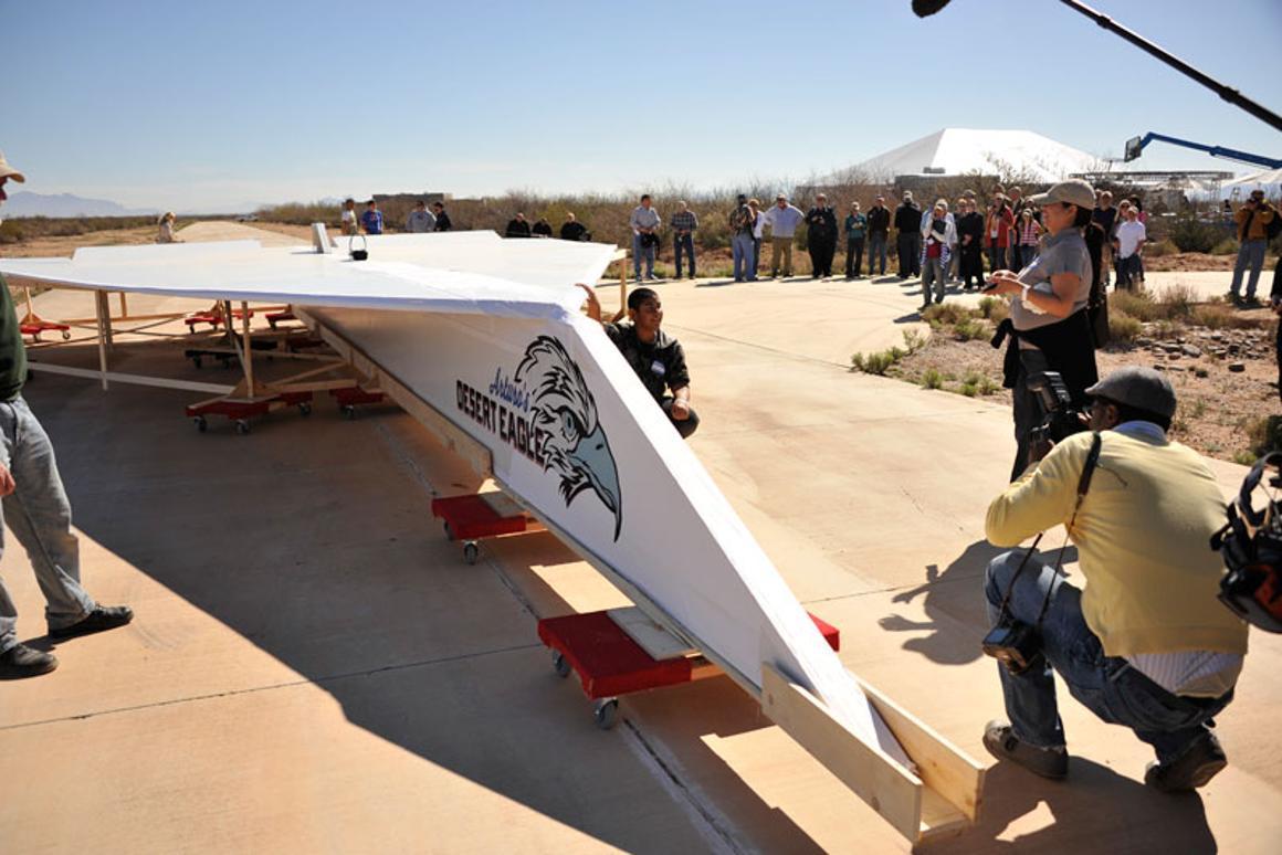 World's largest paper airplane flies over desert