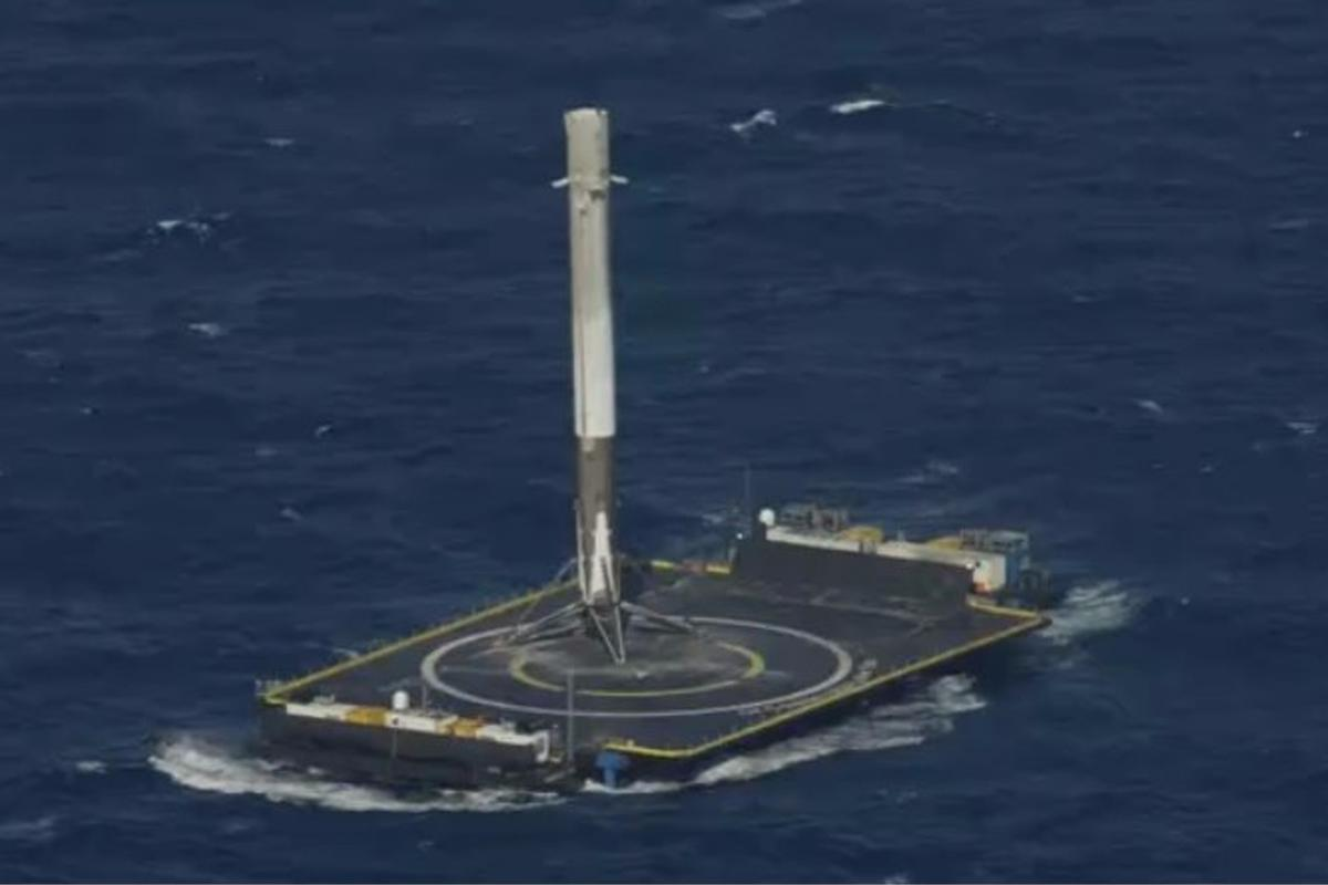 A Falcon 9 booster made the first post-mission powered landing on a sea barge