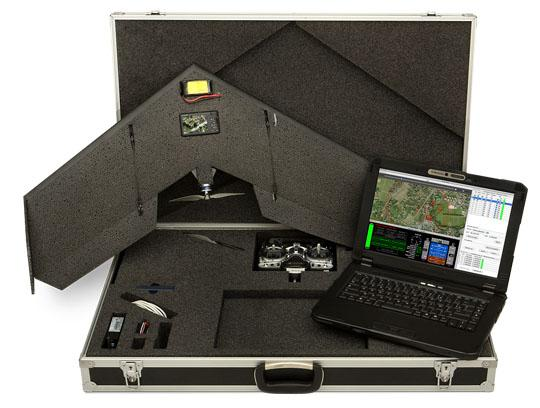 The Swinglet CAM with case, remote control, radio modem and optional semi-rugged notebook