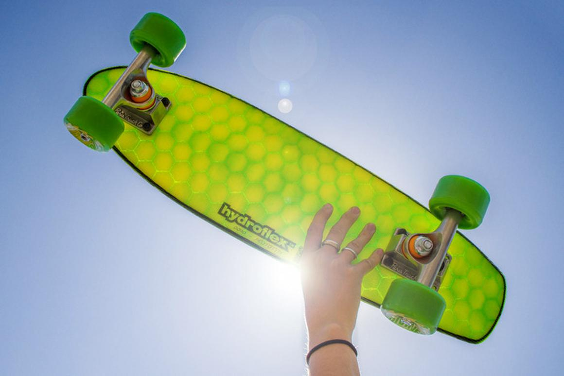 The new skateboard from Hydroflex uses a honeycomb design and construction process borrowed from its surfboard manufacturing process