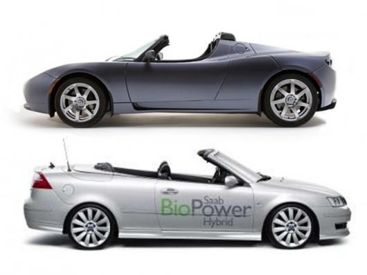 The electric Tesla Roadster comes out on top of the ethanol powered Saab 9-5 in the miles per acre stakes