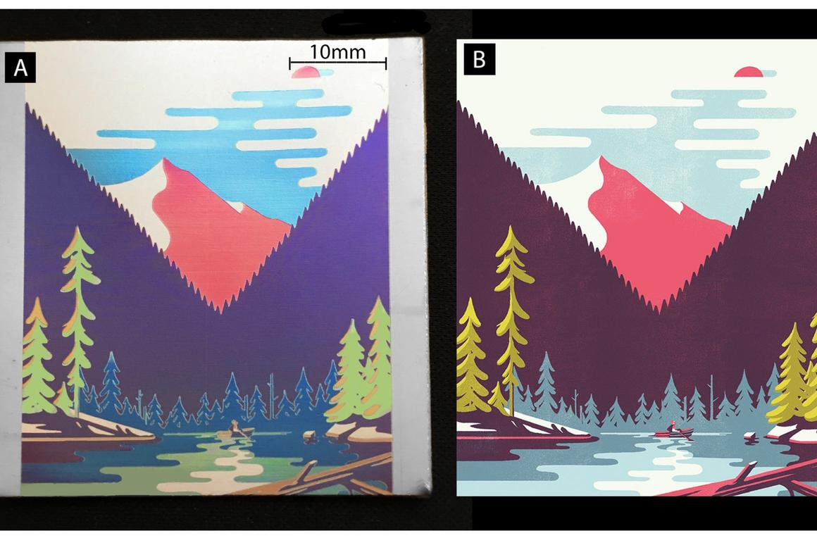The laser oxidation process was used to reproduce an illustration on titanium (left) that was originally created forAir France magazine (right)