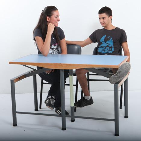 When designing the desk, Brutter and Bruno had to consider not just the durability of the desk, but also how it would be used every day in the classroom