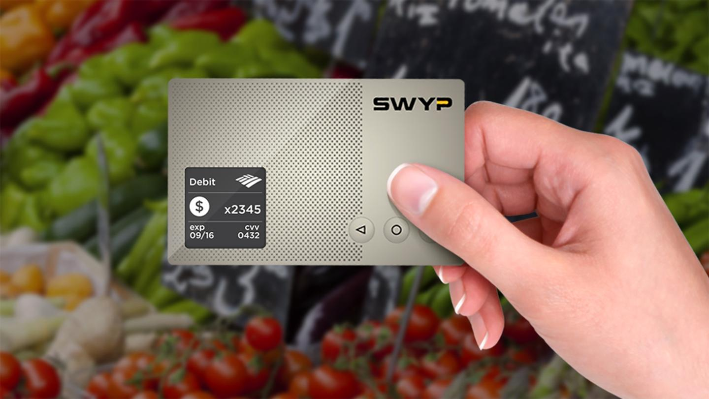 Swyp allows users to switch between stored cards using the physical scroll buttons, with the built-in display showing information for the chosen payment method