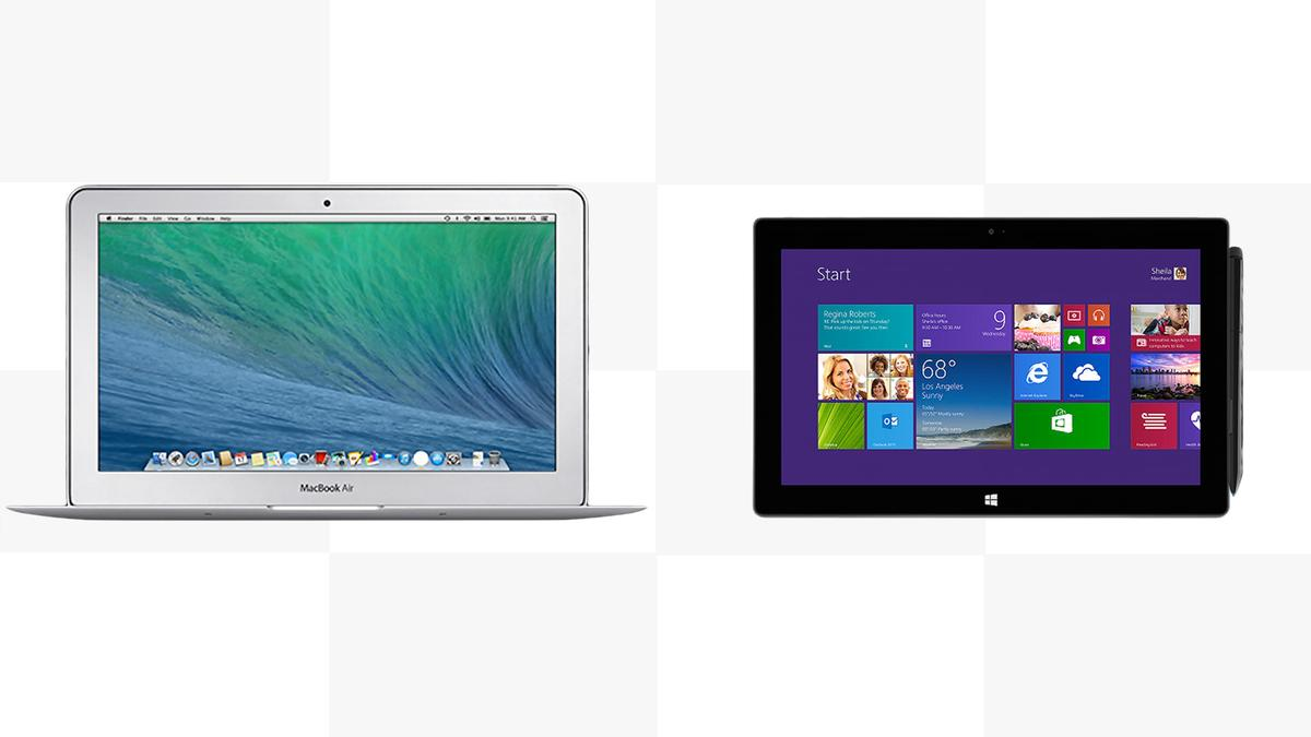 Gizmag compares the features and specs of the 11-in 2014 MacBook Air and the Surface Pro 2