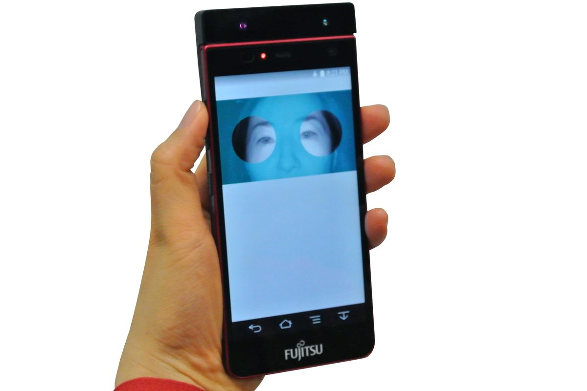 At MWC Fujitsu is displaying a smartphone prototype with an iris-scanning authentication system (Photo: Fujitsu)