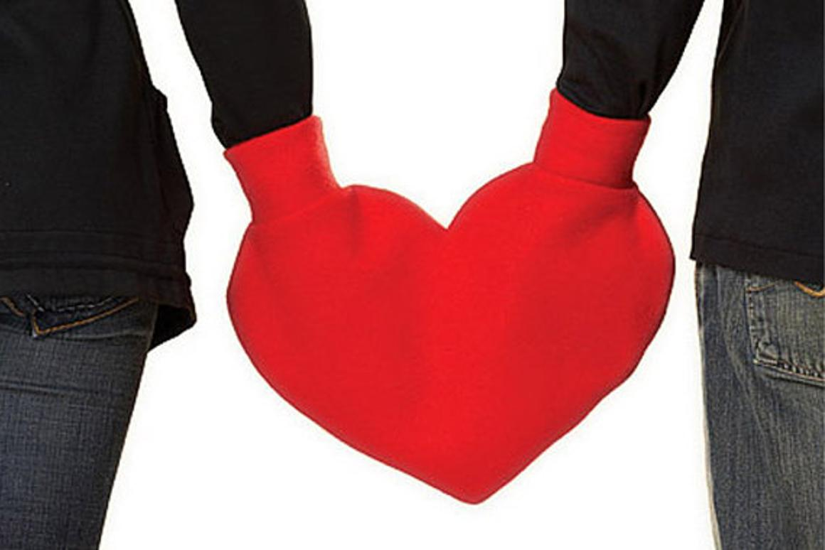 Valentine's Day inspired heart-shaped mittens for two