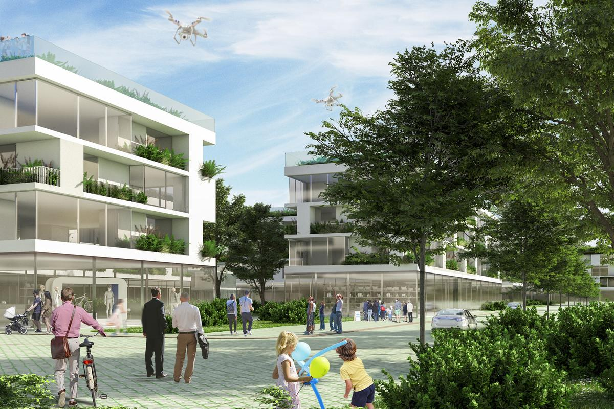 Tirana Riverside's housing will feature green roofs and greenery-covered balconies